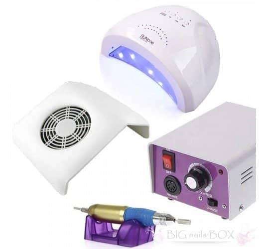 Набір для домашнього манікюру лампа SunOne, фрезер Lina та витяжка