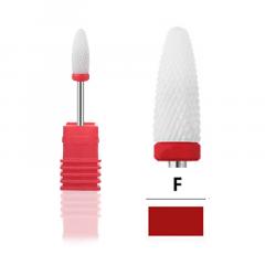 Керамическая насадка, фреза Tirch Cylinder F красная, для снятия гель лака