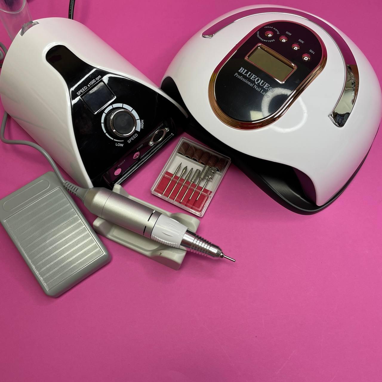 Набор для маникюра с фрезером ZS-711 65вт/45тыс оборотов и лампой UV + LED Blueque V8 168вт
